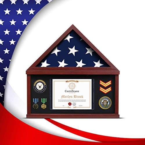 Flag Case for American Veteran Burial Flag Flag Display Case for Burial Flag Military Shadow Box 95% Clear with Felt Lining Holder for Medal Document fits Folded Funeral Flag 5 x 9.5 ft Mahogany Frame