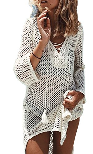 Wander Agio Beach Swimsuit for Women Sleeve Coverups Bikini Cover Up Net White Beige