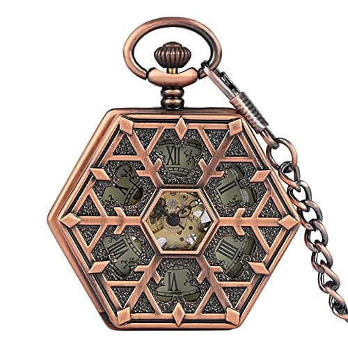 GIPOTIL Reloj de Bolsillo Diseño Hexagonal único Mecánico Oro Rosa Rama de árbol Hueco Reloj de Cuerda Manual Accesorio Colgante Regalos Reloj, Oro Rosa