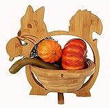 Cesta Plegable Squirrel 30 X 30cm de Bambú Madera Cuenco Frutero Frutas Decoración Cajón Verduras Plato Fruta,Ideal También como Platillo para Ollas,Sartenes Etc. por la Técnica Plegado,Ahorro Espacio