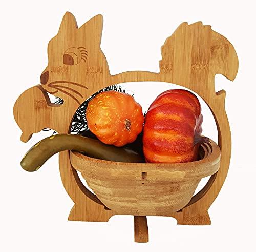 Panier Pliant Écureuil 30 X 30 cm en Bambou Meubles Bois Bol Corbeille de Fruits à Dekoschale Pliable Légume Fruits, Idéal Également comme dessous Plats pour Pots, Poêles Etc. par la Technique Pliage,
