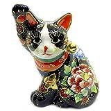 開運 置物 九谷焼 横座り招き猫 黒盛花と蝶 陶器 商売繁盛 アイテム 風水 グッズ