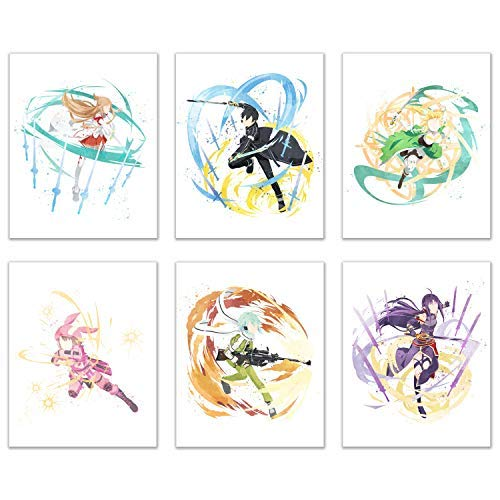 Watercolor Sword Art Online Poster Prints - Set of 6 (8x10) Anime AlfHeim Gun Gale Wall Art Decor - Kirito Kirigaya Kazuto - Yuuki Asuna - Leafa Suguha - Sinon Shino Asada - Konno Yuuki - LLENN