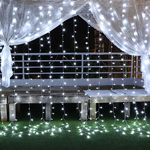 YUE GANG LED Tenda Luminosa 3X3M Catena Luminosa Con Telecomando 8 Modalità, 300 LED Impermeabilità IP44 Luci Per Tende Per Matrimonio, Natale, Festa, Decorazioni Murali Per Interni All'Aperto(Bianca)