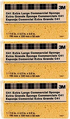 3M Extra Large Commercial Sponge (C41) (Pack of 3), 7.5 in x 4.3 in x 2.0 in, Institutional Size for Tough Cleaning, Heavy Duty, Great for The Kitchen, Garage and Outdoors