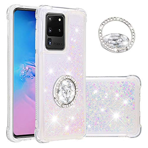 Funda para Galaxy S20 Ultra Girly, Samsung Galaxy S20 Plus/S20 5G Diamond Ring Case Case Glitter Liquid Bling Quicksand híbrido a prueba de golpes suave (S20 Ultra (6.8 pulgadas), colorido)