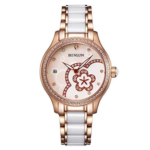 BINLUN Damen wasserdichte Automatik Uhren mit Perlmutt Zifferblatt Keramik Armband Diamond Accented Lünette Kalender Datum Armbanduhr Muttertagsgeschenk