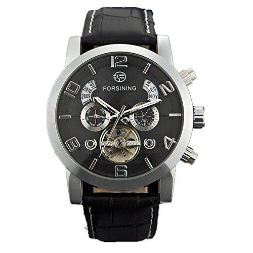 Qyian Mens Tourbillon Automatic Mechanical Leather Wrist Watches Black