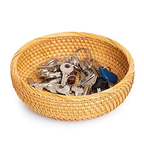 """Small Key Bowl For Entryway Table Organizing Fruit Baskets Decorative Roma Tomato Snacks Lotion Wicker Storage Kitchen Counter Desk Countertop Wooden Rattan Serving Bowls Chips (S: 7.8"""", Honey Brown)"""