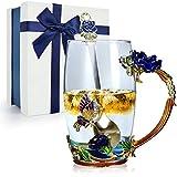 STRMZD Tazza da caffè in vetro trasparente con fiore di farfalla smaltata, tazza da tè, Tazza da viaggio Con cucchiaio in acciaio, Regali personalizzati per fidanzata, compleanno, madre, Natale, Donne