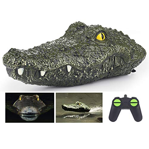 2.4G Remote Control Electric Racing Boat - RC Simulation Swimming Crocodile Head Ship Spoof Toy - Floating Fake Alligator Head Prank Toy for Pools Lakes Ponds