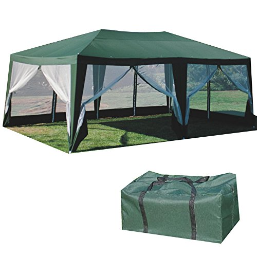 Formosa Covers SUNMART Deluxe Screen House Extra Large Gazebo Canopy Shade and Mosquito Net Protection - Green 12'x20'