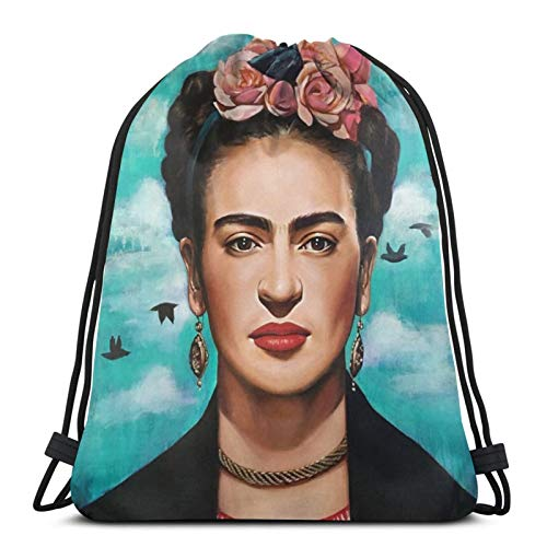 fgjfdjj Frida Kahlo Bolsos con cordón Ajustable Mochila Bolsa de Gimnasio Ligera para Hombres Mujeres Deportes al Aire Libre