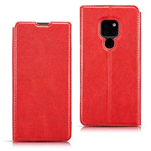 EATCYE Hülle für Huawei Mate 20,Handyhülle für Huawei Mate 20, Ultra Dünn Brieftasche PU Leder Flip Case Magnetverschluss Handytasche Klapphülle (Rot)
