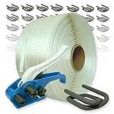 Textil Umreifungsset gewebt HD, 25 mm - 400 m Umreifungsband mit Bandspanner und Verschlussklemmen