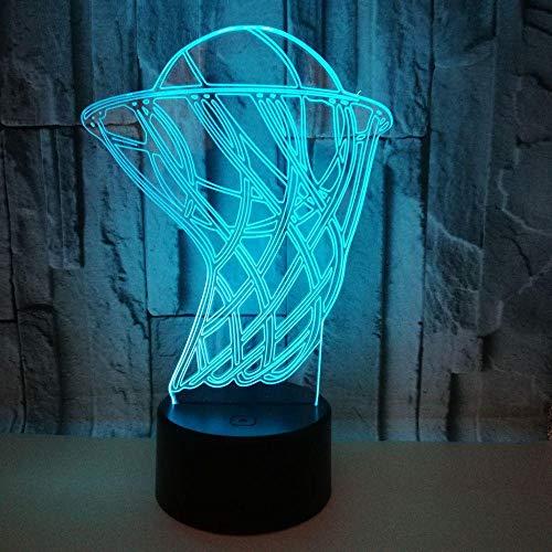 Luz nocturna 3D con diseño de balón de baloncesto en 3D, para escritorio, decoración de fiestas, 7 colores cambiantes, luz nocturna en 3D, para niños, el mejor regalo para niños