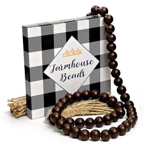 Decorative Wood Bead Garland Home Decor, Farmhouse Beads with Tassel, Wood Garland Decorative Beads for Tier Tray, Rustic Prayer Boho Beads, Wooden Garland Boho Table Decor (Brown)