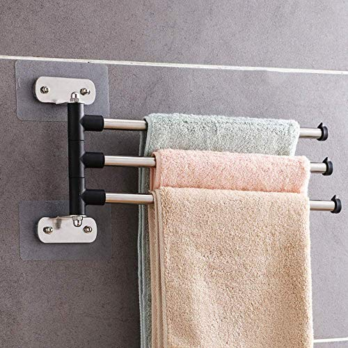 NMDD Towel Rack,180Rotation Towel Rail,Stainless Steel Towel Shelf,Storage Rack with Hook,Wall-Mounted Towel Bar,for Bathroom Kitchen Hotel-3-arm