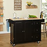 Kitchen Islands on Wheels Drop Leaf Utility Cart Mobile Breakfast Bar With Storage Drawers Towel and Spice Rack Bundle includes Bonus Kitchen Conversion Chart Magnet From Designer Home Kitchen (Black)