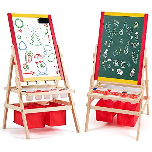 COSTWAY 3 in 1 Kinder Staffelei, Whiteboard & Kreidetafel & Roll Zeichenpapier, Kindertafel doppelseitig, Standtafel, Spieltafel, Holztafel, inkl. 2 Aufbewahrungsboxen und Zubehör