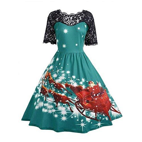 Auifor Panel de Navidad Retro Damas Fiesta de Navidad Vestido de señora la impresión del cordón El Columpio Vestido de Encaje(Verde/X-Large)