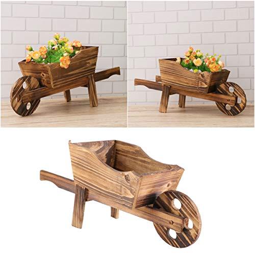 Yardwe Wood Wagon Flower Planter Wooden Flower Pot Cart Planter Tabletop Flower Pot Succulent Plant Pot Indoor