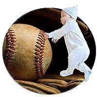 ソフトラウンドエリアラグ滑り止めフロアサークルマット 100x100cm/39.4x39.4IN 吸収性メモリースポンジスタンディングマット,野球