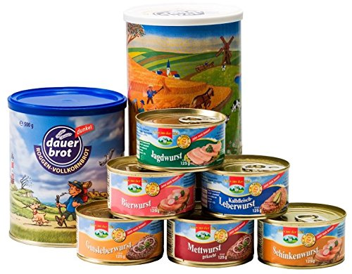 1-Person-Reserve: Brot + Wurst, rd. 1,75 kg, 2 x 500g Dosenbrot, 6 x 125g Dosenwurst