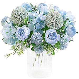 ZDOUBLEWIN Artificial Flower Bouquets 1Pack Fake Peony Silk Hydrangea Plastic Carnations for Flower Arrangements Table Centerpieces Wedding Party Decoration