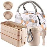 Bento Box Japanese Lunch Box Kit for Kids & Adults - Stackable 3-In-1 Compartment Bento Lunch Boxes Set with Soup Cup, Spoon and Fork, Cake Cups - Leakproof Wheat Straw Meal Prep Containers (Khaki)