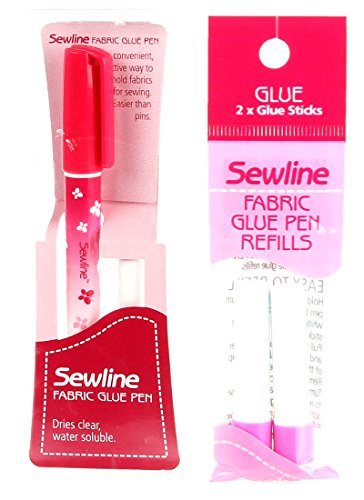 Bundle of Sewline Fabric Glue Pen(s) Blue, and Fabric Glue Pen Refill 2-Pack(s) Blue (1 Pen, 1 2-pack Refills)