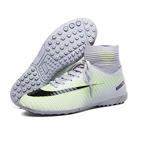 Calzado de fútbol para niños Hombre Botas de fútbol para Interior y Exterior Athletic Turf Mundial Team Cleat Running Sports Ligero Transpirable Antideslizante Zapatos de amortiguación Gris 42
