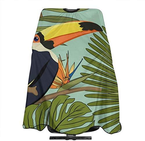 Glas Perilla Tropische Geel Zwart Toucan Exotische Palm Monstera Gepersonaliseerde Aangepaste Profionale Haarsalon Apron, Polyester Haar Sjaal 55