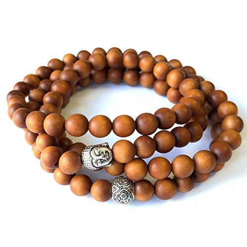 Agar Creations - Mens Womens 108 Bead Sandalwood 8mm Mala Bracelet - Yoga Meditation Beads - Buddha Prayer Beads