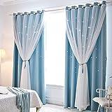 Gecheer 2 cortinas para oscurecer la habitación, cortinas transparentes huecas para ventana, cortinas purdah para el hogar, sala de estar, dormitorio (azul, 1 m x 2,5 m)