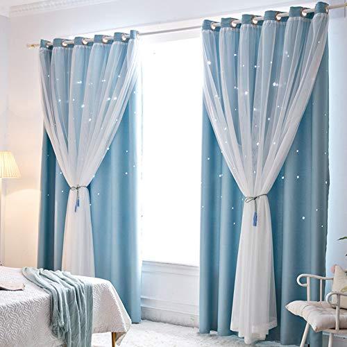 Gecheer - Cortinas para habitación, sala de estar o dormitorio, bloqueo de la luz, 2unidades, motivos de estrellas calados, (azul, 1mx2,5m)