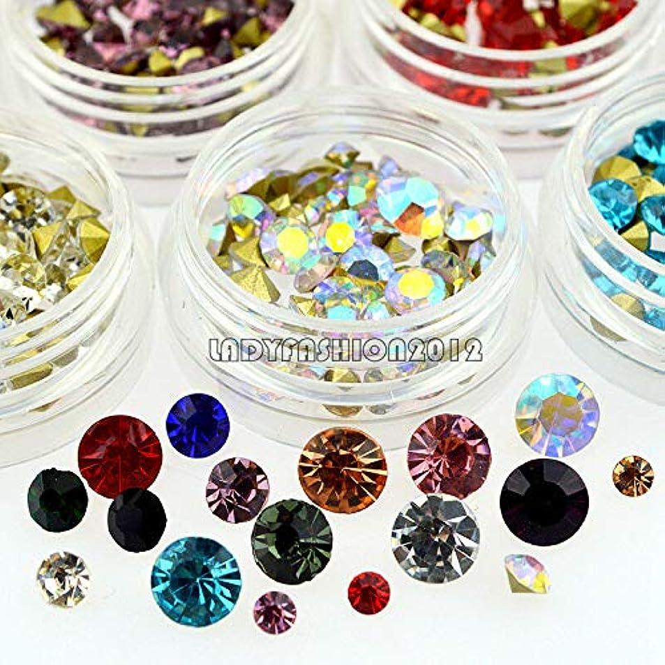 FidgetGear 12カラーミックスサイズグリッターVボトムダイヤモンドアクリルネイルアートラインストーンデカール
