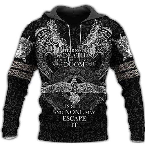 BBYaki Tatuaje Capucha Hombres Viking Odin Cuervo, Impresión 3D Mitología Nórdica Hugin y Munin Manera Ocasional Camiseta Floja Gran Tamaño Pullover Chaqueta,Muninn Hoodie,5XL