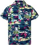 Funky Camisa Hawaiana, Manga Corta, Flamingos, Gris Azul, 3XL
