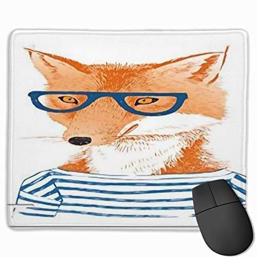 Niedliches Gaming-Mauspad, Schreibtisch-Mauspad, kleine Mauspads für Laptop-Computer, Mausmatte Moderner Hipster-Frauenfuchs mit Brille und gestreiftem Hemd Humor Charakter Animal Printblue Orange Wei