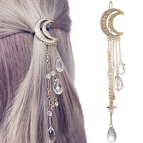 YKDY Stirnband Mode Elegante Frauen Dame Mond Strass Kristall Quaste Lange Kette Perlen Baumeln Haarnadel Haarspange Haarschmuck (Gold) (Farbe : Gold)