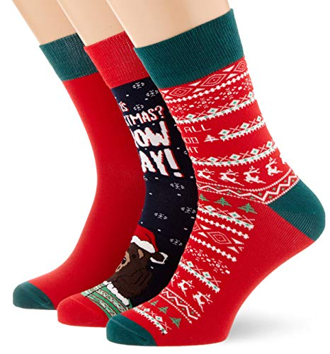 Urban Classics Herren Christmas Weihnachts-Strümpfe Set Bear 3Er Pack Socken, Mehrfarbig (Multicolor 01667), 39/42 (Herstellergröße: 39-42)