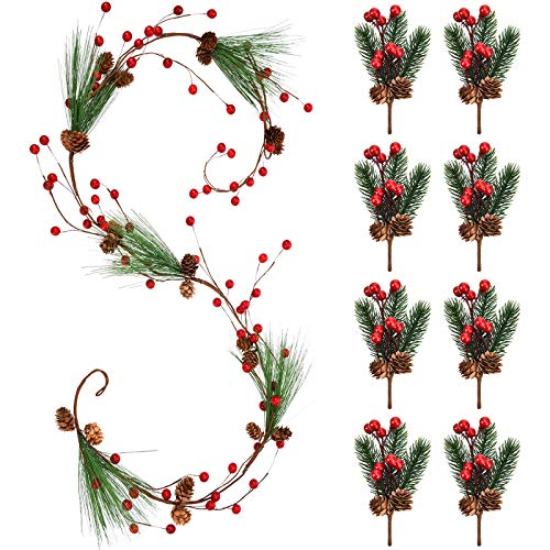 Ghirlanda di Bacche Rosse di Natale 5.9 ft Pino Artificiale delle Bacche Rosse Ago di Pino Sempreverde Decor di Ghirlanda e 8 Pezzi Gambi a Bacca Rossa Rami di Pino Bacche Sempreverdi per Casa Bar