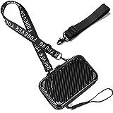 Handy Umhängetasche - Mode Damen Schultertasche Klein Geldbörse Crossbody Handtasche - Hart ABS+pc Kofferform mit Verstellbar Abnehmbar Schultergurt für Handy unter 6.5 Zoll (Streifen Schwarz)