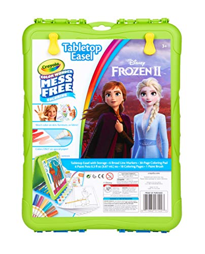 Crayola Color Wonder Travel Easel Frozen II Pages with Bonus Pages, Markers and Color Wonder Paint Coloring Travel Books and Easel 61 Piece MEGA Set