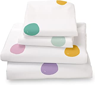 Colorful Pink, Seafoam Teal, Yellow, Purple and Gray Polka Dot Queen Size 4 Piece Sheet Set, Soft Sheets for Deep Matresses