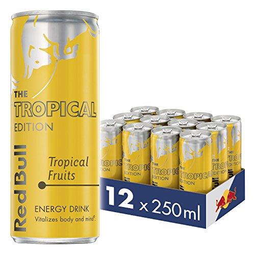 Red Bull Energy Drink Tropical 12 Pack of 250 ml, Yellow Edition