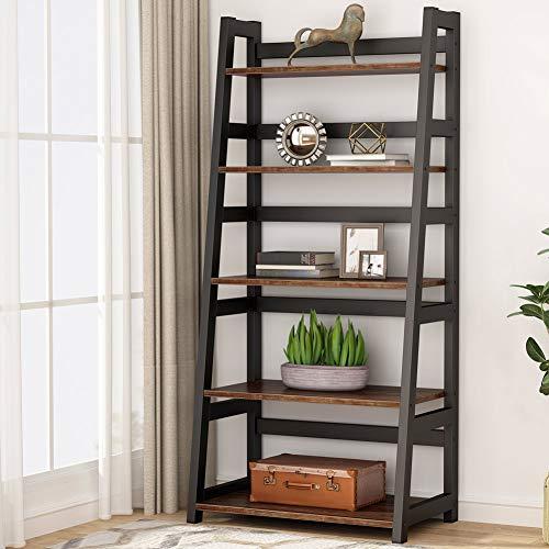 Tribesigns 5-Tier Bookshelf Industrial Bookcase, 5 Shelf Ladder Shelf Book Storage Shelf Organizer for Living Room, Home Office