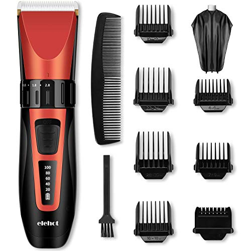 Hair Clippers for Men Electric Trimmer Cordless Hair Cutter Grooming Kit LED Display with Stainless Steel Blades for Men & Women (Red) ELEHOT