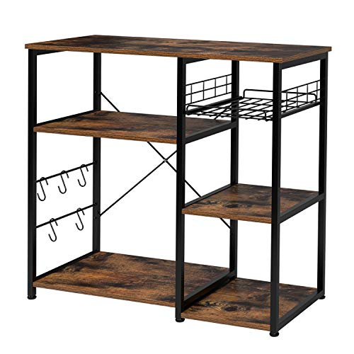 Homfa Kitchen Baker's Rack, Industrial Microwave Stand Utility Storage Shelf Island Rack 3-Tier and 4-Tier Table for Spice Rack Multipurpose Organizer Workstation with 5 Hooks, 35.4Lx15.7Wx32.6H inch
